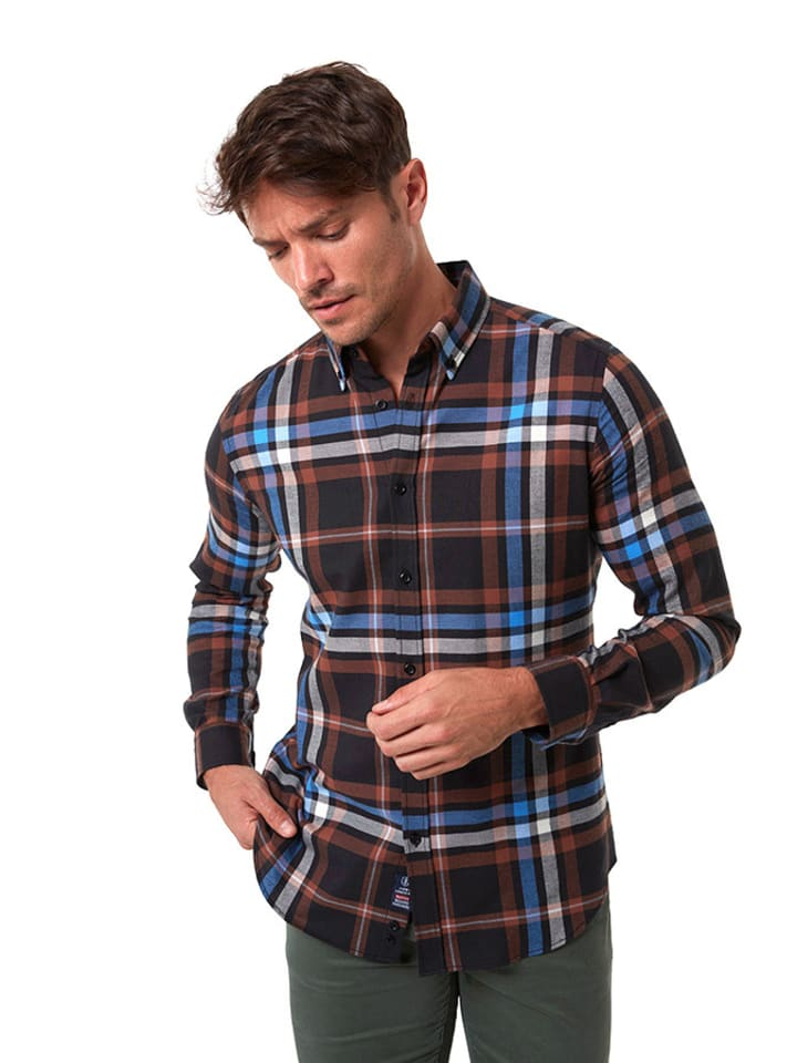 JIMMY SANDERS Koszula w kolorze brązowym ze wzorem