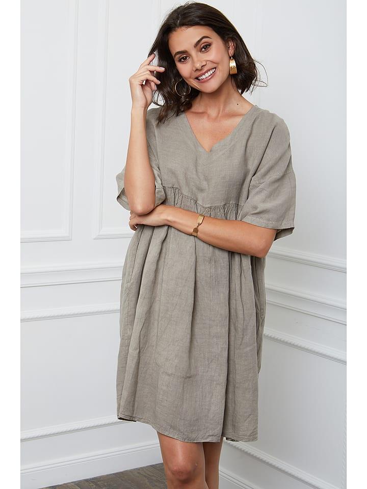 "Fleur de Lin Leinen-Kleid ""Etsy"" in Taupe"