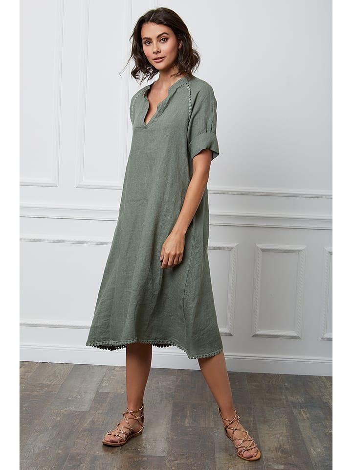 """Fleur de Lin Leinen-Kleid """"Granel"""" in Khaki"""