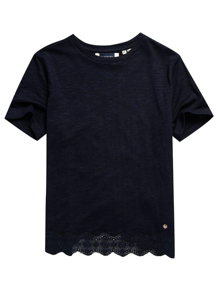 """Superdry Koszulka """"Lace Mix"""" w kolorze granatowym"""