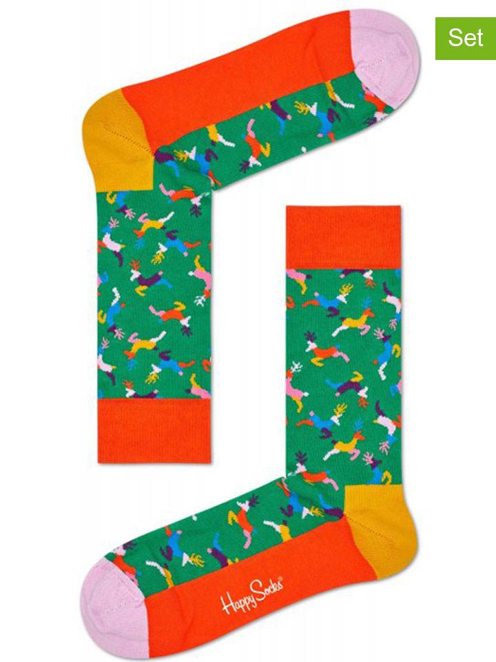 """Happy Socks 2-delige set: sokken """"Reindeer"""" groen/oranje"""