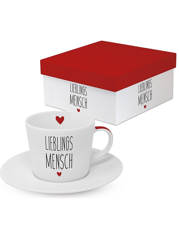 "Ppd Cappuccinotasse ""Lieblingsmensch"" in Weiß/ Schwarz - 200 ml"