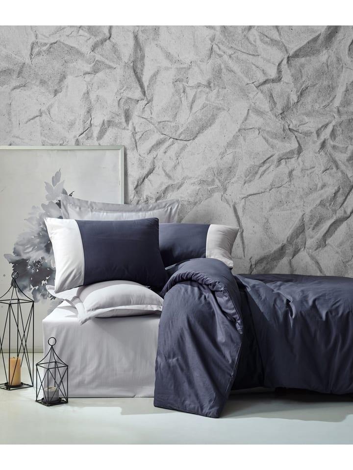 Colorful Cotton Renforcé beddengoedset donkerblauw/grijs