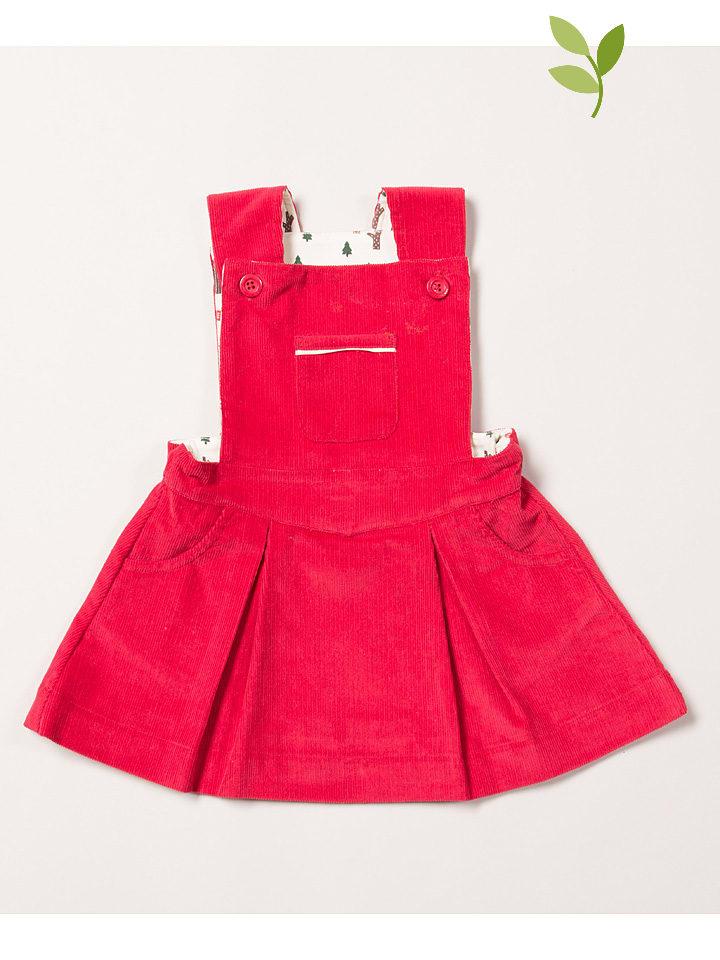 Little Green Radicals Sztruksowa sukienka-ogrodniczka w kolorze różowym