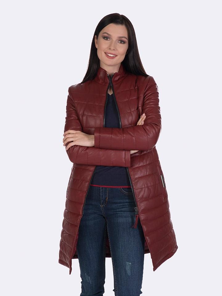 Felix Hardy Skórzany płaszcz w kolorze czerwonym