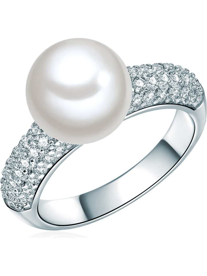 Perldesse Pierścionek z perłą i cyrkoniami