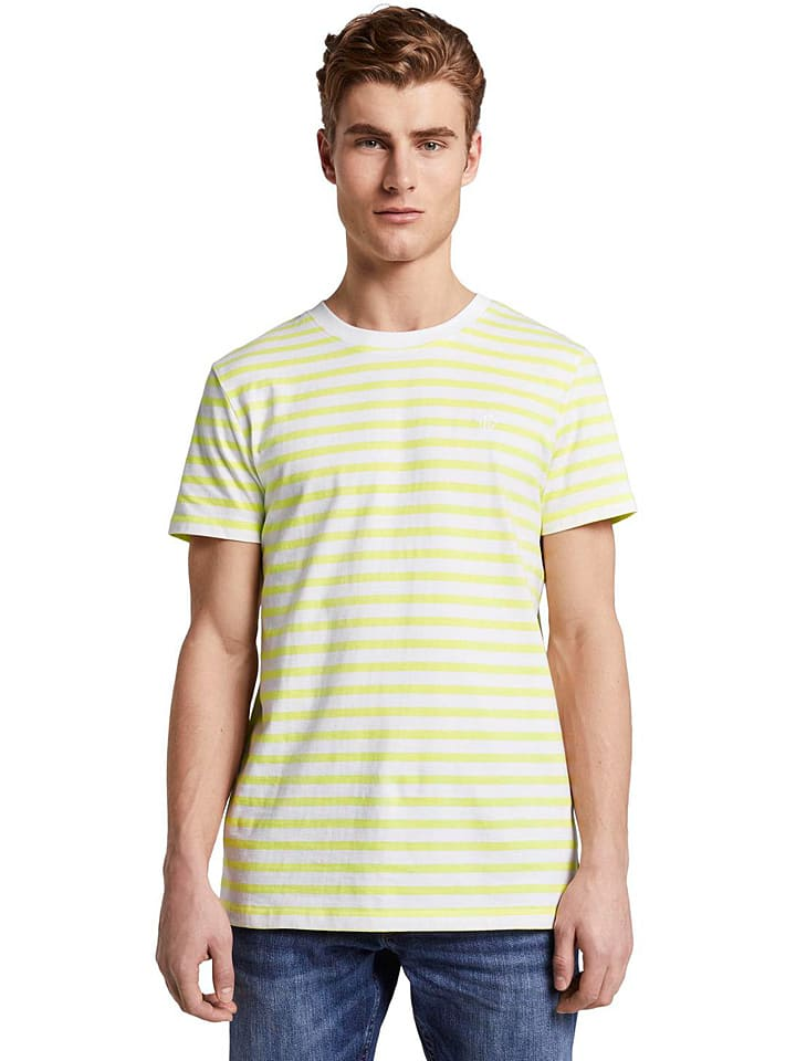 TOM TAILOR Denim Koszulka w kolorze żółto-białym