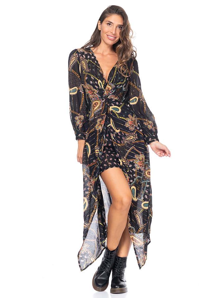 Peace & Love Sukienka w kolorze czarnym ze wzorem