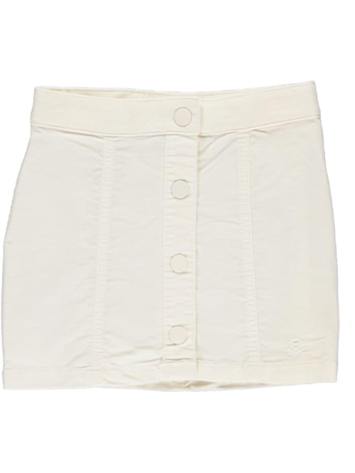 Benetton Spódnica sztruksowa w kolorze białym