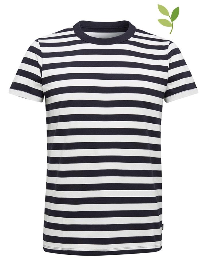 ESPRIT Koszulka w kolorze granatowo-białym
