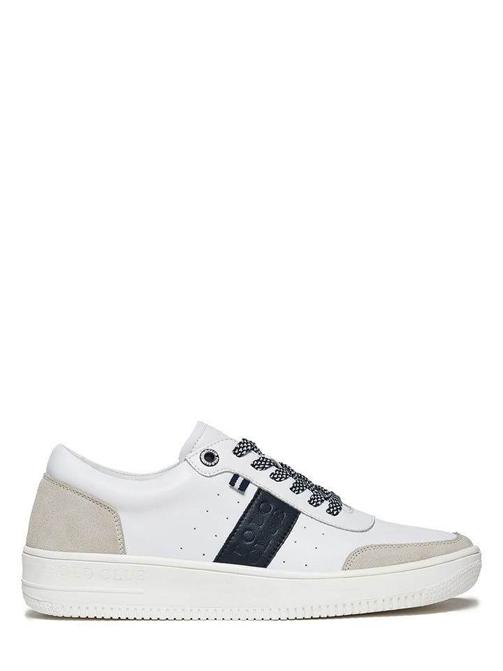 Polo Club Leder-Sneakers in Weiß/ Beige