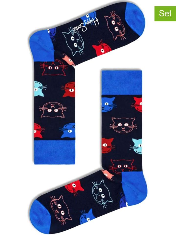 """Happy Socks Skarpety (2 pary) """"Santa Cat"""" w kolorze niebieskim ze wzorem"""