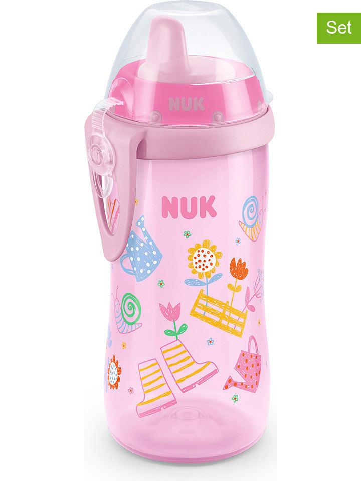 """NUK 2-delige set: drinkleerflessen """"Kiddy Cup"""" lichtroze - 2x 300 ml"""