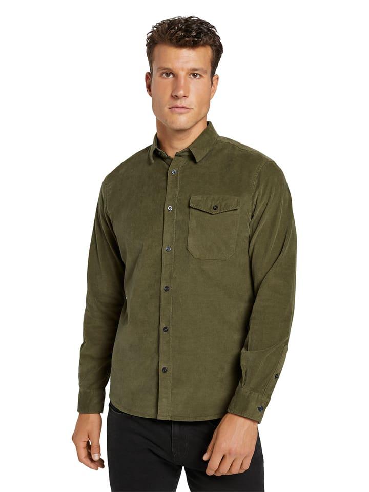 Tom Tailor Koszula sztruksowa - Regular fit - w kolorze oliwkowym