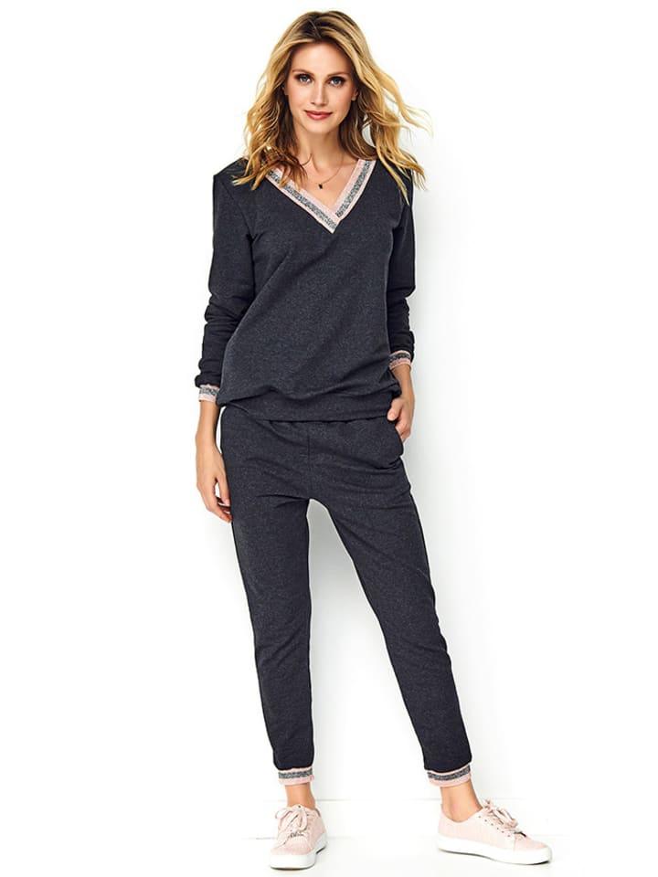 Makadamia 2-częściowy zestaw w kolorze antracytowym - bluzka, spodnie