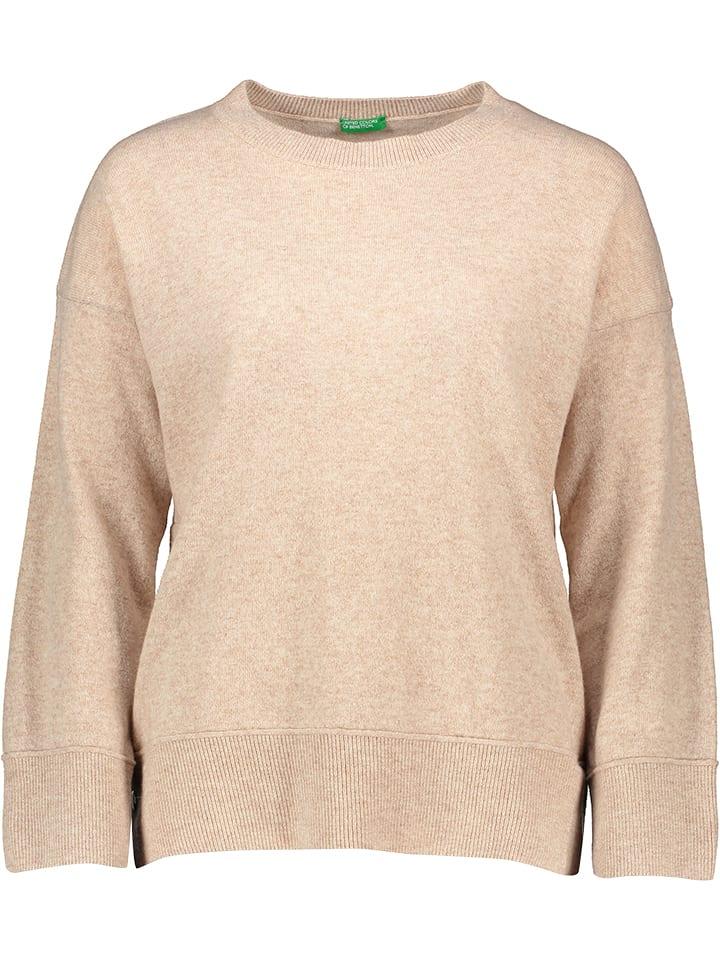 Benetton Sweter w kolorze beżowym