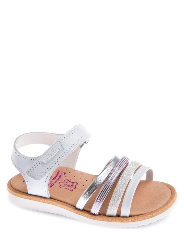 Pablosky Leren sandalen wit/zilverkleurig