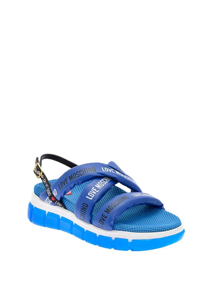 Love Moschino Sandały w kolorze niebieskim
