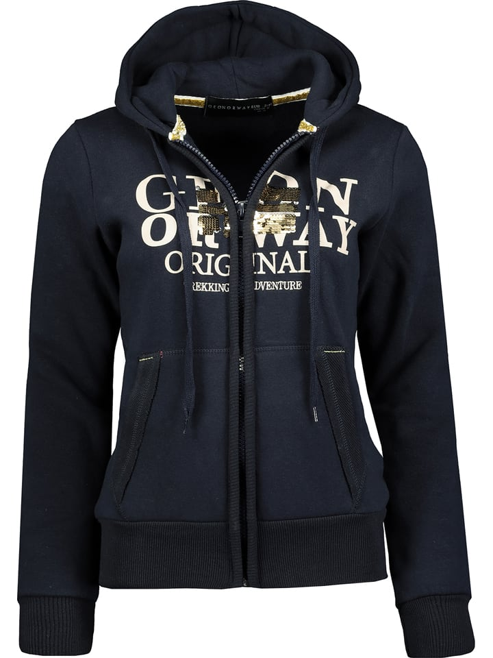 """Geographical Norway Sweatvest """"Gassy"""" donkerblauw"""