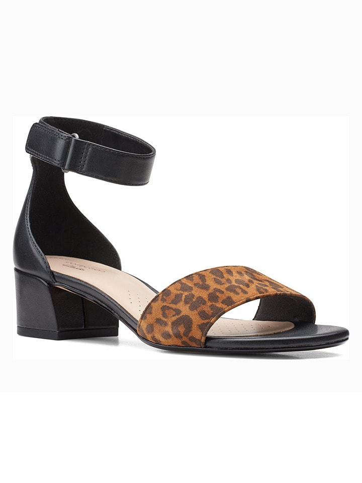 Clarks Skórzane sandały w kolorze czarno-jasnobrązowym