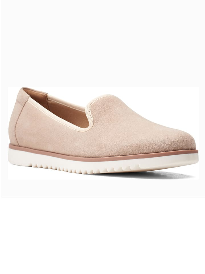 Clarks Skórzane slippersy w kolorze beżowym