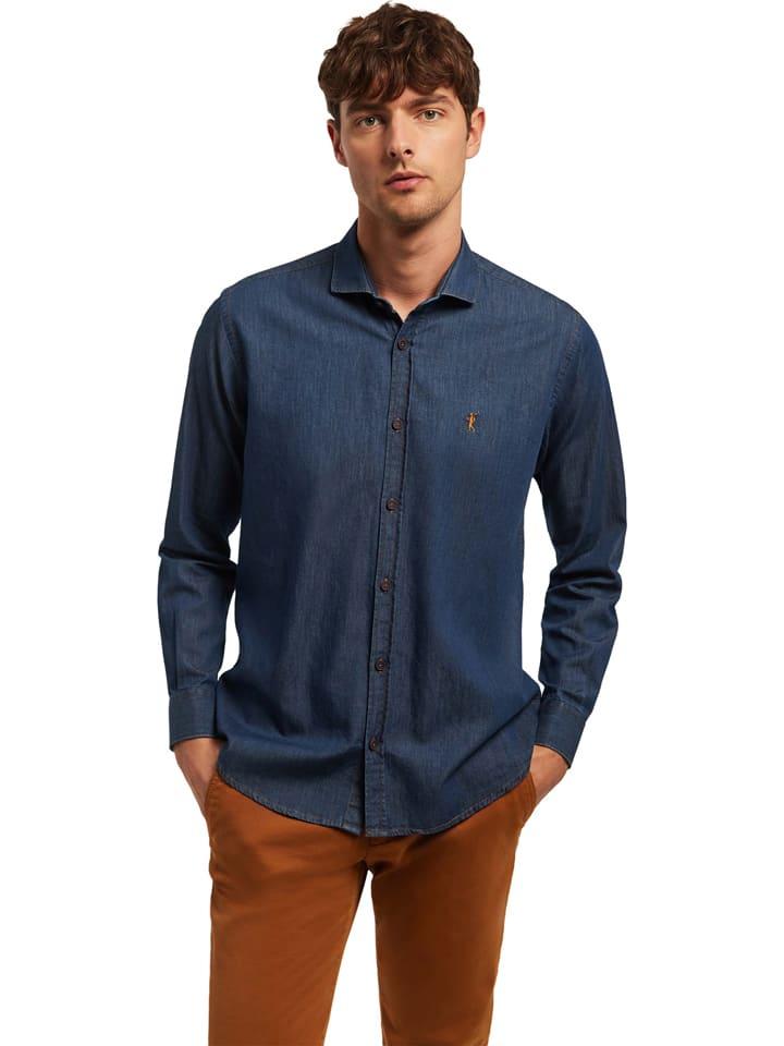 Polo Club Jeanshemd - Custom fit - in Blau