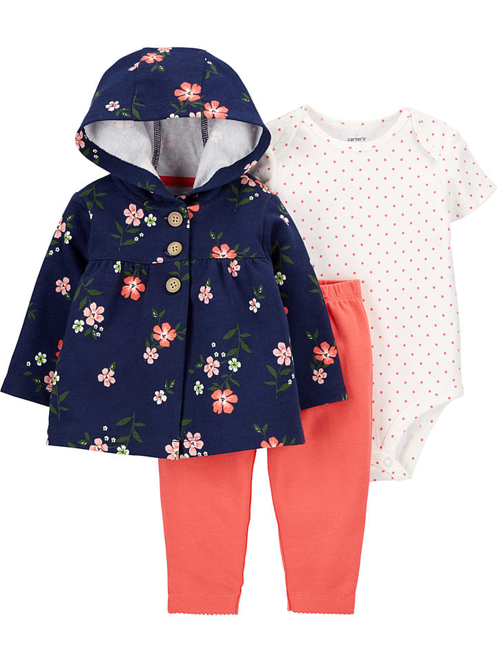 Carter's 3-delige outfit donkerblauw/abrikooskleurig/wit