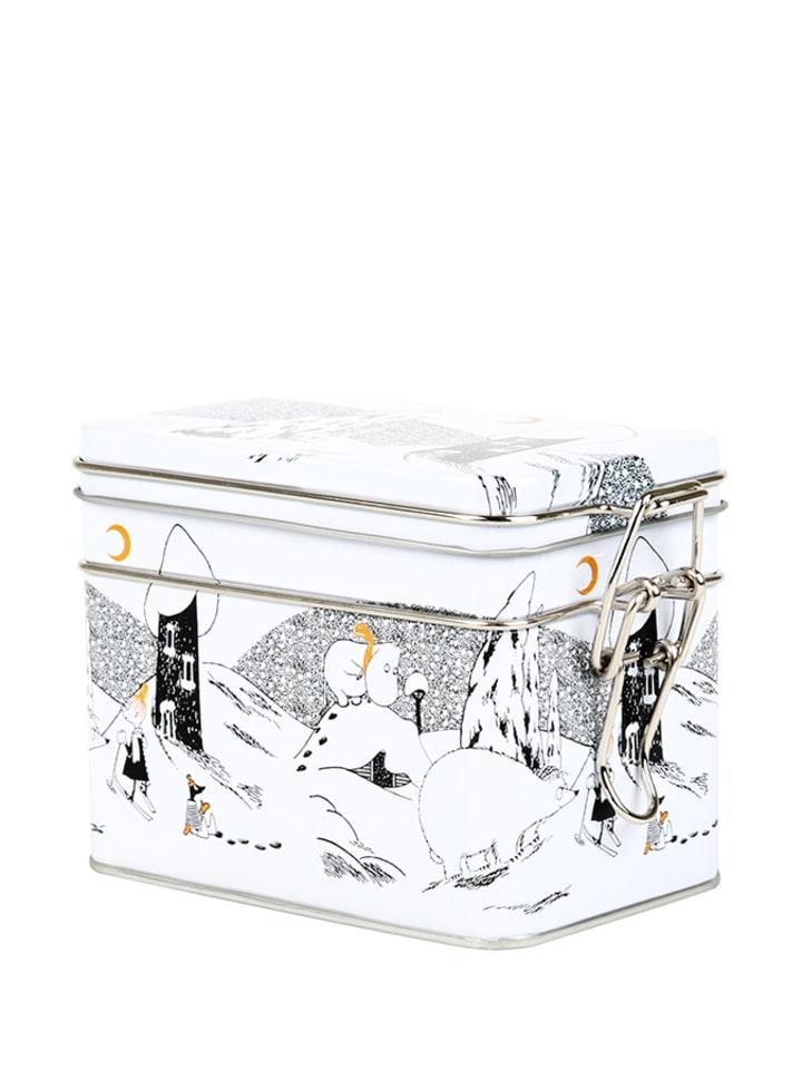 Moomin Pojemnik w kolorze białym ze wzorem na herbatę - (S)15 x (W)9,5 x (G)8 cm