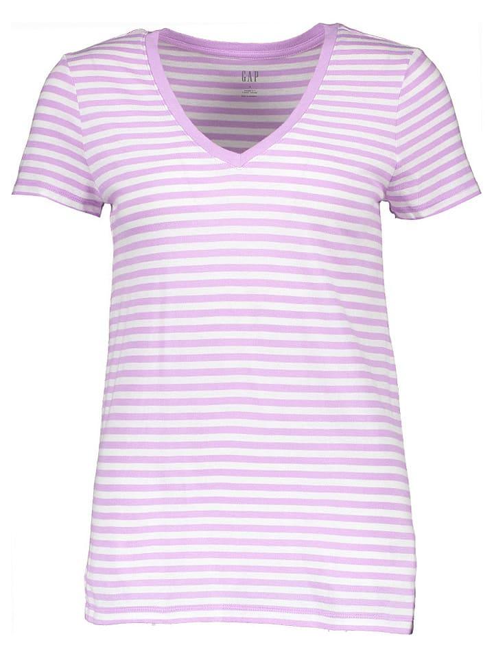 GAP Koszulka w kolorze fioletowo-białym