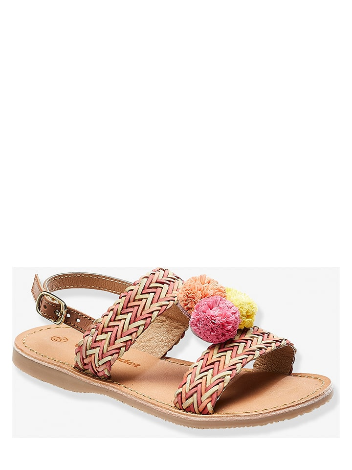 Vertbaudet Leren sandalen rood/lichtroze