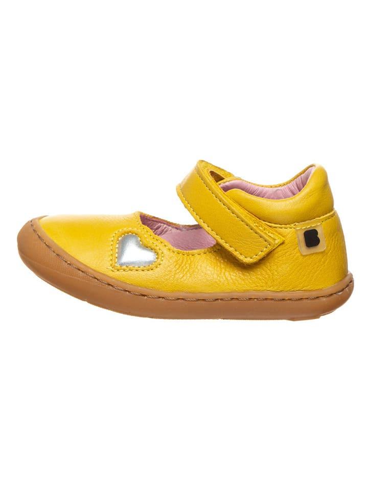 BO-BELL Leren ballerina's met bandje geel