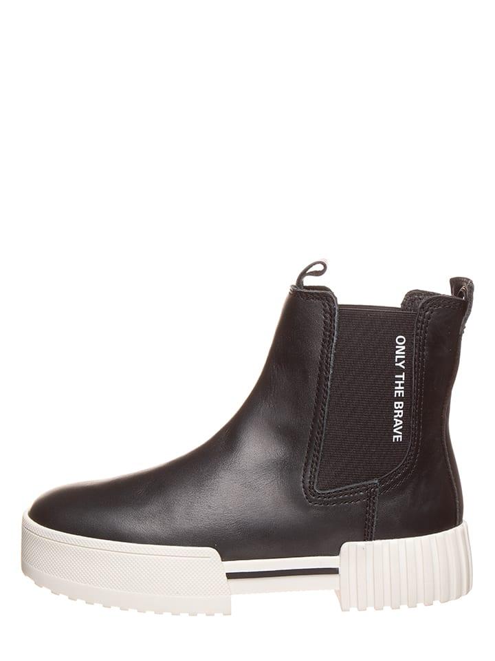 Diesel Leder-Chelsea-Boots in Schwarz