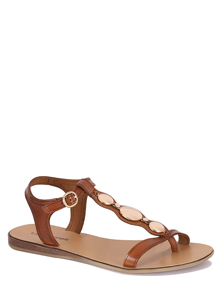 """Laura Bonelli Leren sandalen """"Isabella"""" cognackleurig"""