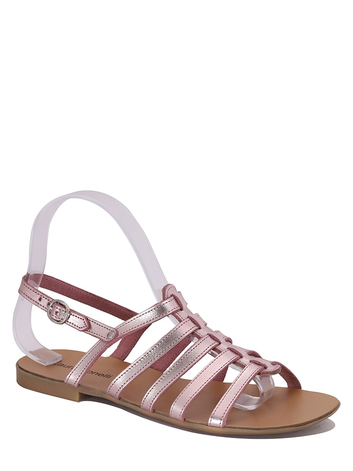 "Laura Bonelli Leren sandalen ""Paola"" lichtroze"