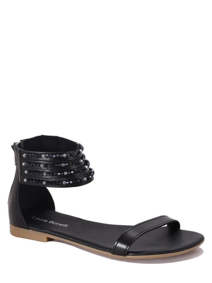 """Laura Bonelli Leren sandalen """"Floriana"""" zwart"""