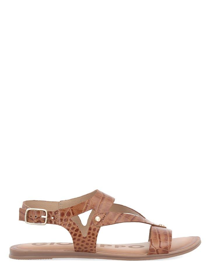 Gioseppo Leren sandalen cognackleurig