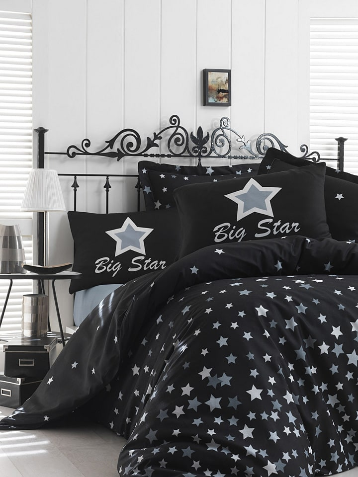 """Colourful Cotton Komplet pościeli """"Star"""" w kolorze czarnym"""