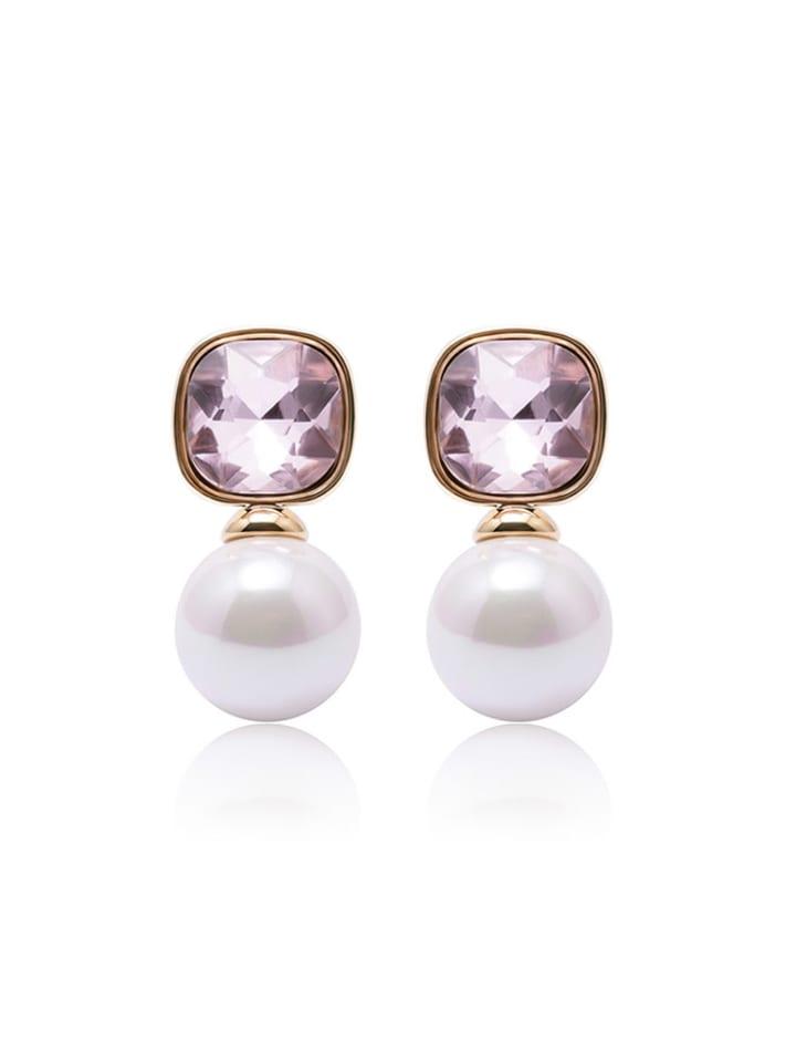 Annie Rosewood Kolczyki w kolorze różowego złota z kryształem i perłą