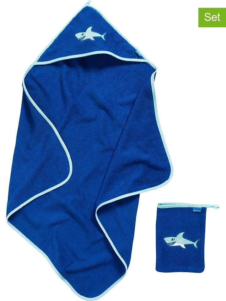 Playshoes 2-częściowy zestaw: ręcznik z kapturem i myjka w kolorze niebieskim