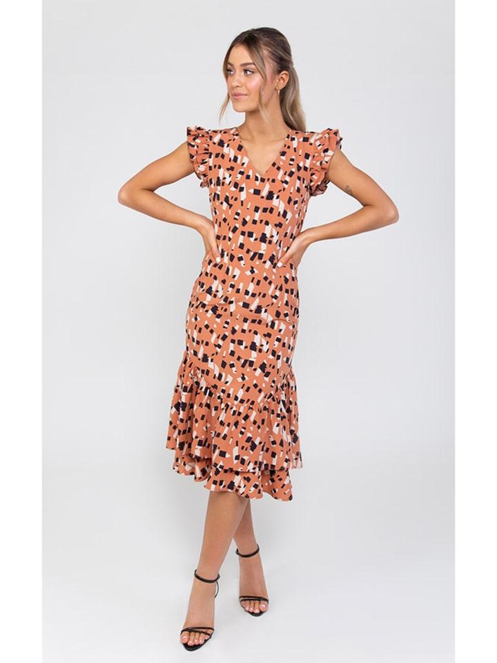 Zibi London Sukienka w kolorze pomarańczowym ze wzorem
