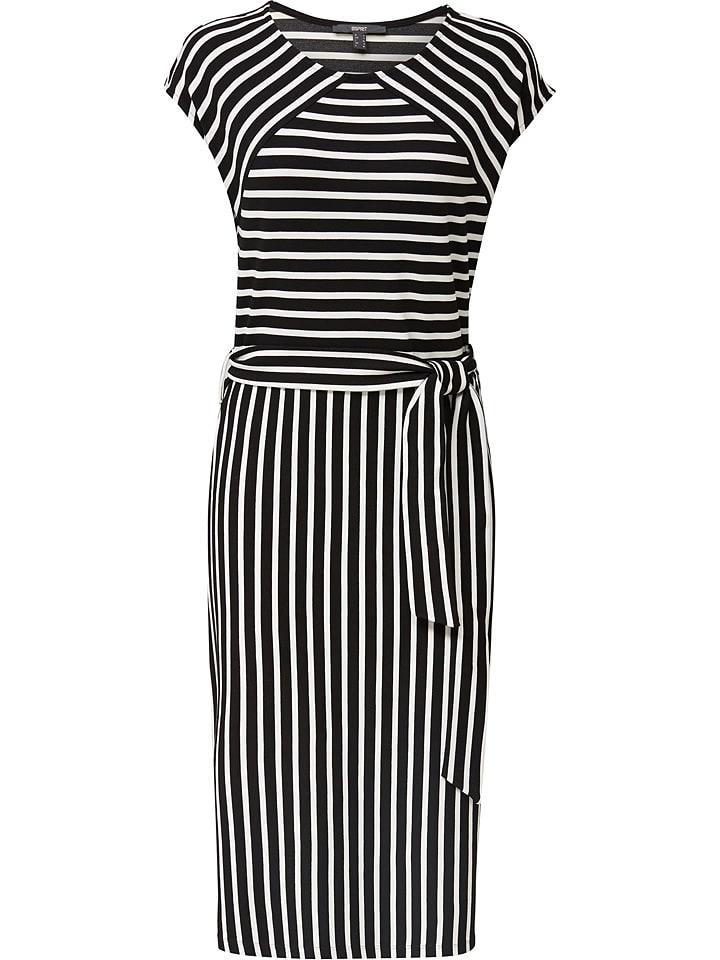 ESPRIT Sukienka w kolorze czarno-białym