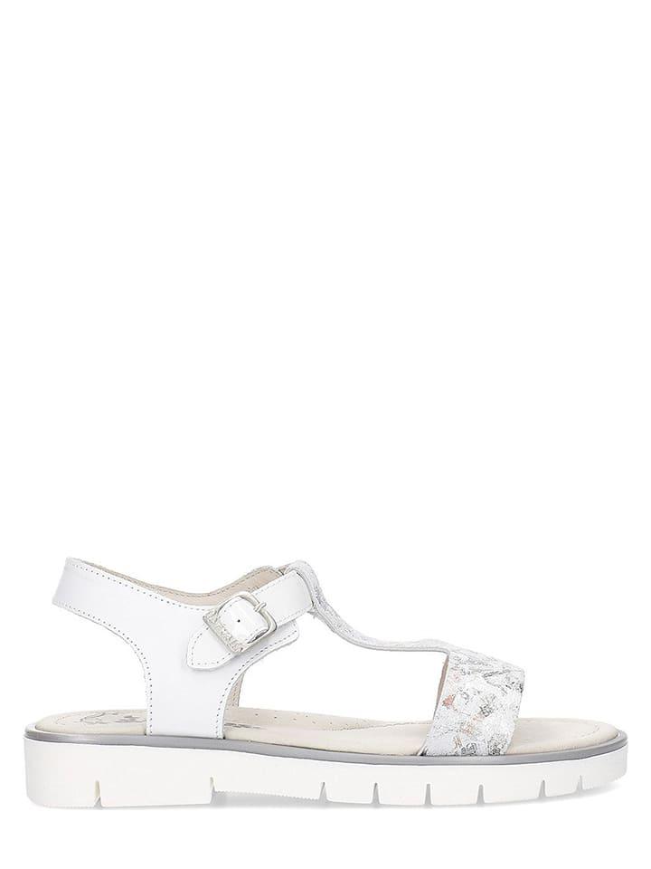 Garvalin Leren sandalen wit/zilverkleurig