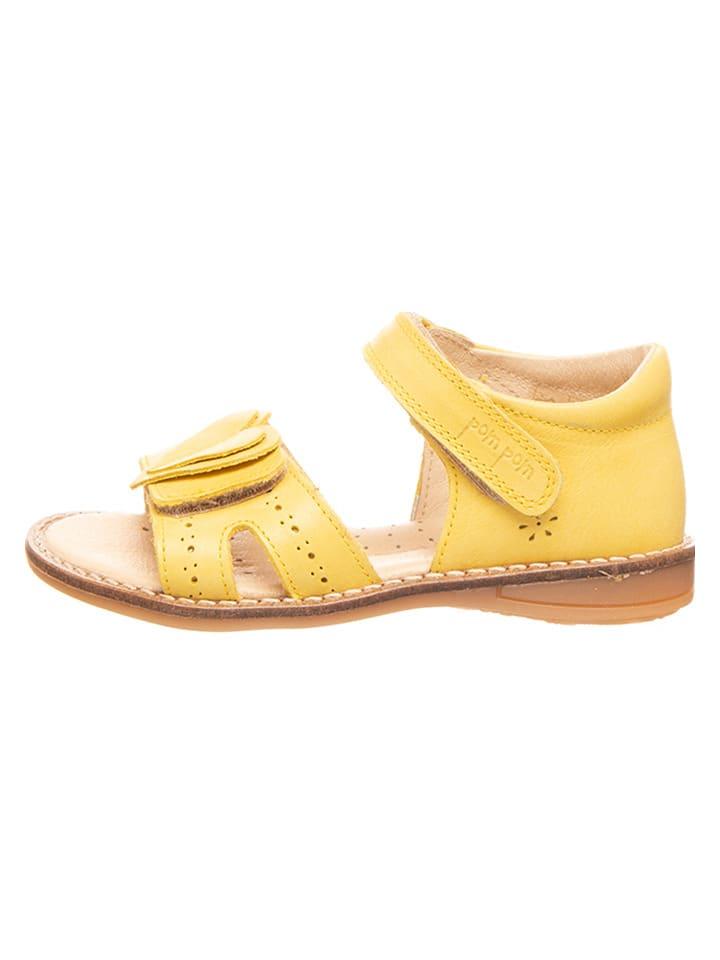 POM POM Skórzane sandały w kolorze żółtym