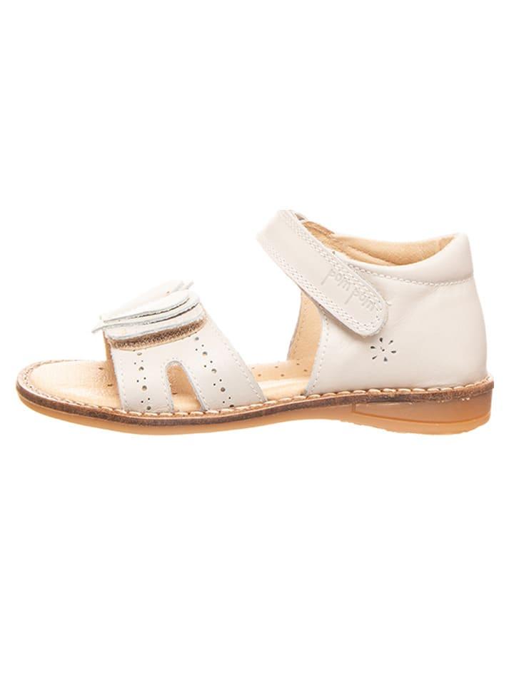POM POM Skórzane sandały w kolorze białym