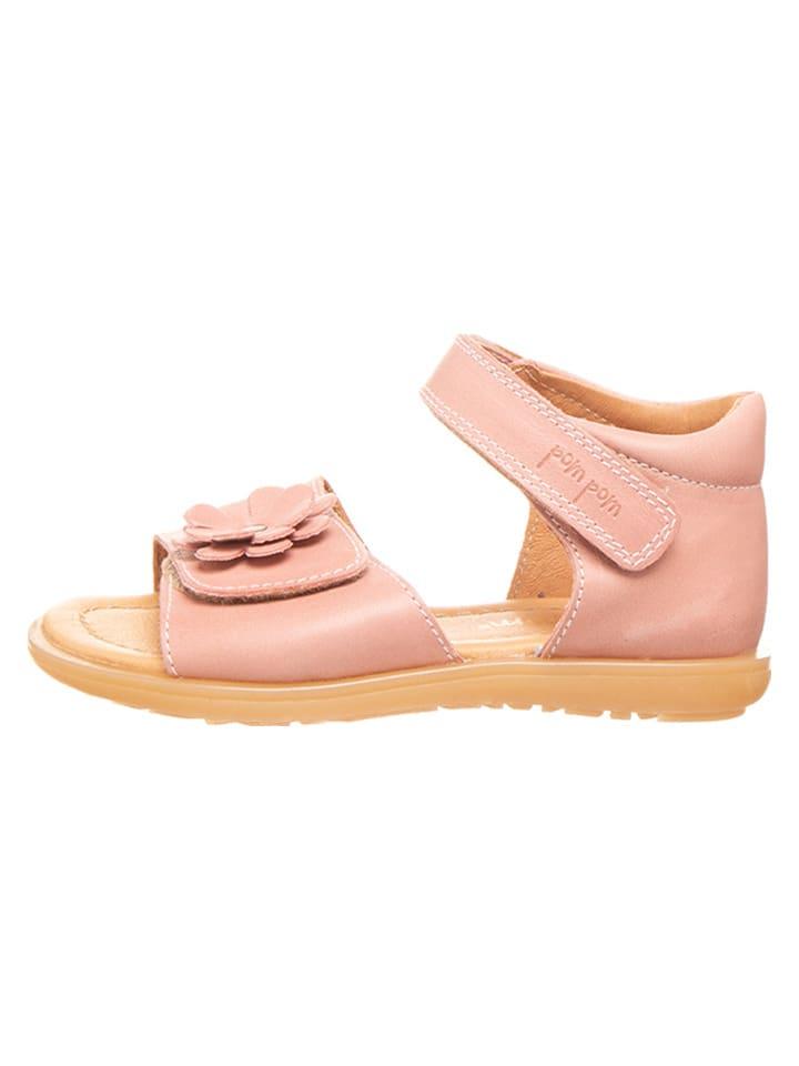 POM POM Skórzane sandały w kolorze jasnoróżowym