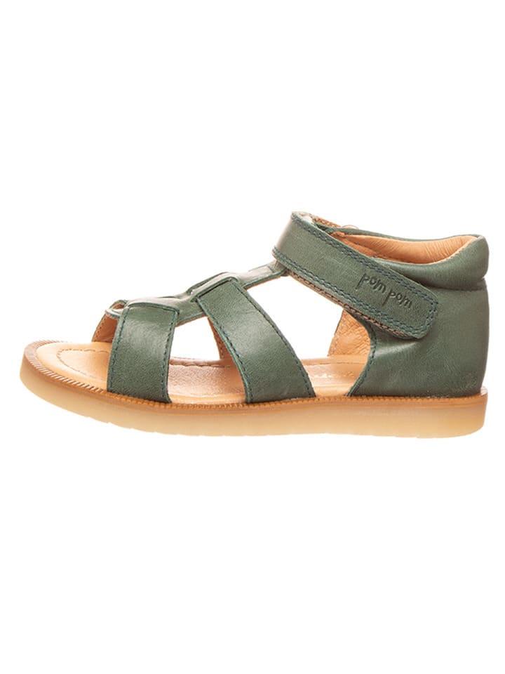 POM POM Skórzane sandały w kolorze oliwkowym