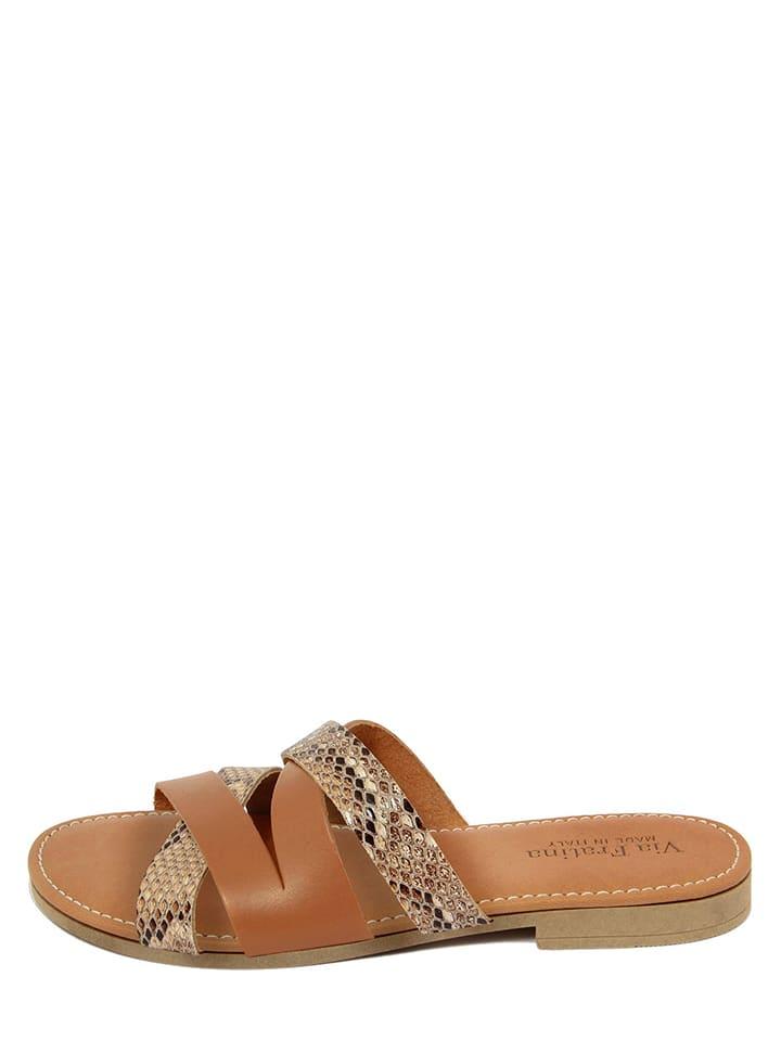 Via Fratina Leren slippers camel