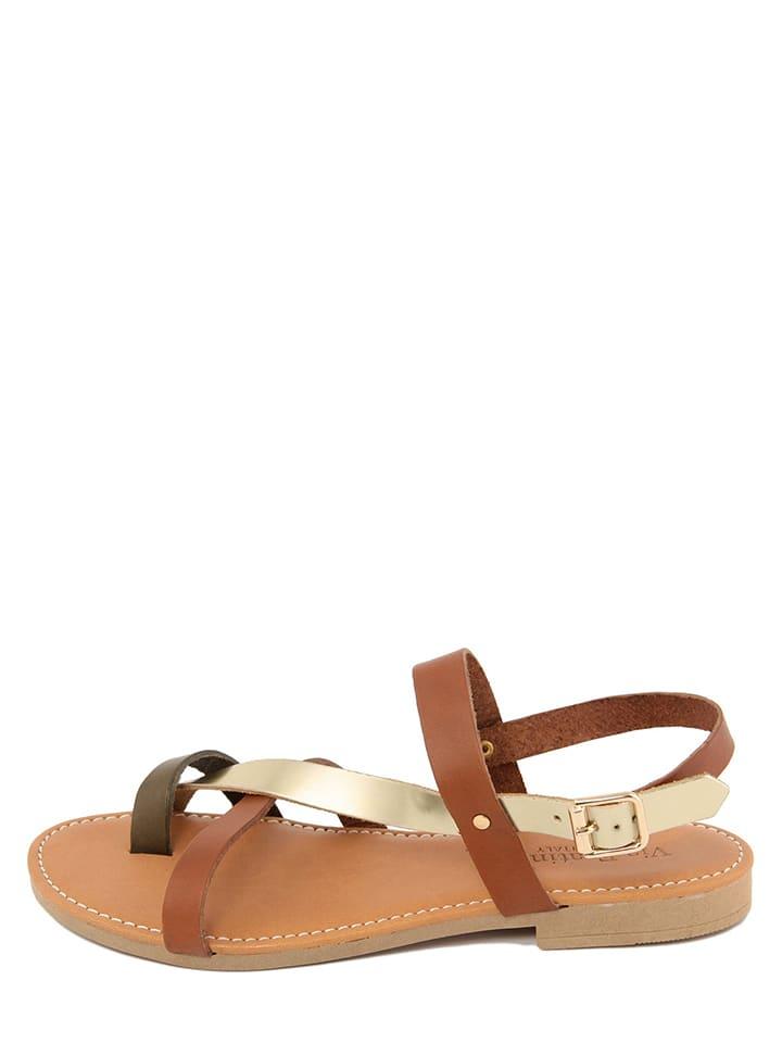 Via Fratina Leren sandalen bruin/goudkleurig