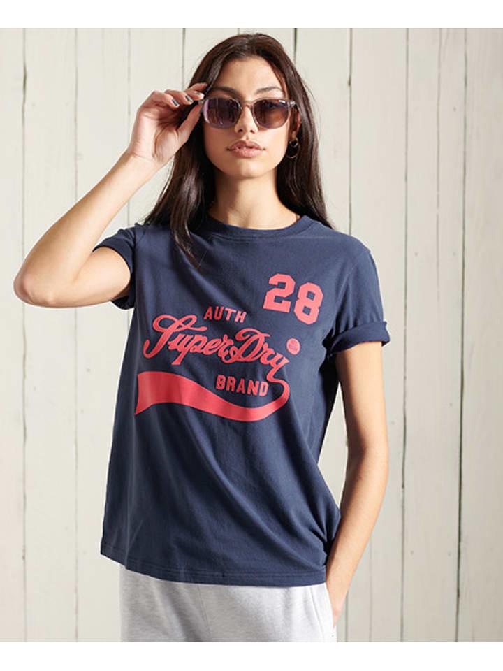 """Superdry Koszulka """"Collegiate"""" w kolorze granatowym"""
