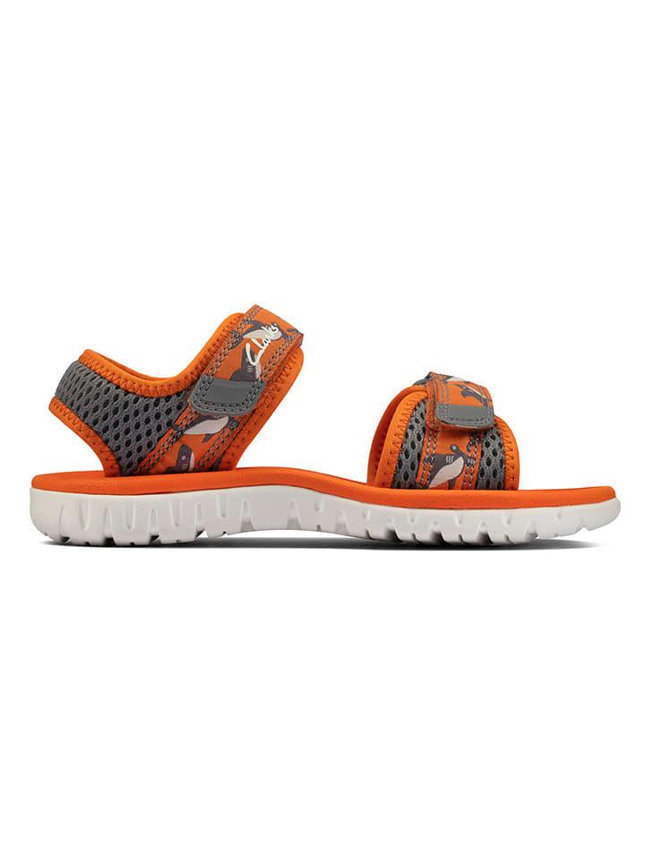 Clarks Sandały w kolorze szaro-pomarańczowym